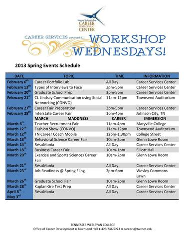 Spring 2013 Career Services Workshop Schedule